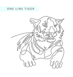 continuous one line drawing of tiger portrait in vector image