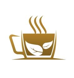 Fresh cup of steaming hot herbal tea vector