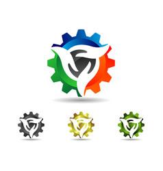 gear hand logo vector image vector image