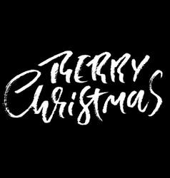 hand drawn phrase merry christmas modern dry vector image vector image