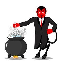 Satan roasts sinners boiler Demon cooking Big vector image