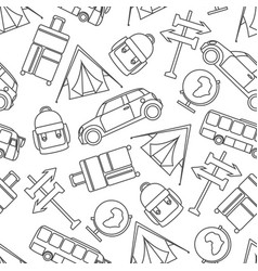 Travel seamless pattern with graphic line vector
