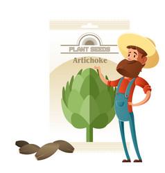 artichoke seed pack vector image vector image