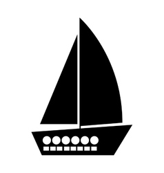 black silhouette yacht flat icon vector image