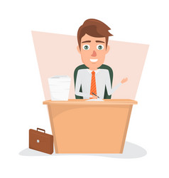 business man writting on document paper at office vector image