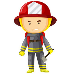 Fire fighter in protection suit vector image vector image
