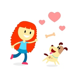 Girl Play Catch The Bone with Her Dog vector image vector image