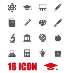 grey education icon set vector image vector image
