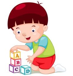 Little boy playing blocks vector image vector image