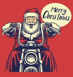 santa claus ride a motorcycle vector image