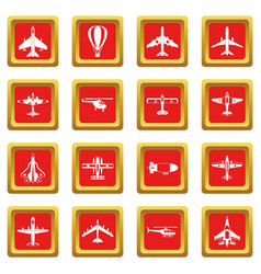 aviation icons set red vector image
