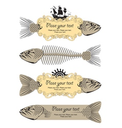 Banner signs with fish vector image