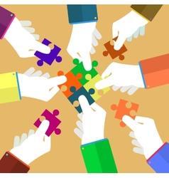 Businessman assembling jigsaw puzzle vector image