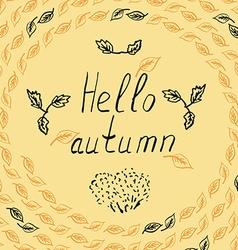 hello autumn leves sketch vector image vector image