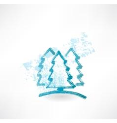 Three fir-tree grunge icon vector image vector image