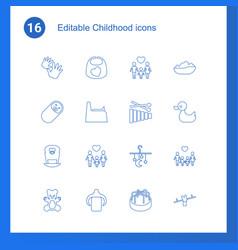 16 childhood icons vector image