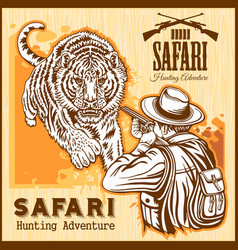 African safari - tiger hunting retro poster vector