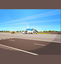 airport terminal aircraft flying plane taking off vector image