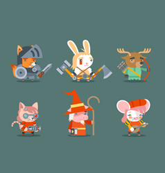 Animal fantasy rpg game heroes character vector