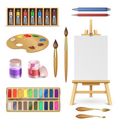 Artistic tools and art supplies with easel vector