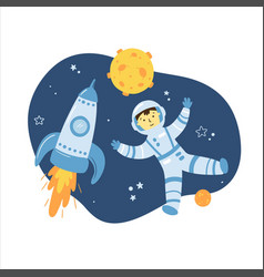 astronaut hand drawn concept for kids vector image