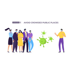Avoid crowded place banner coronavirus protection vector
