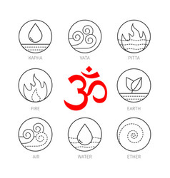 Ayurveda icons set thin vetor signs vector