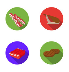 Bacon jamon pork ribs fried cutlets meat set vector