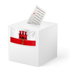 Ballot box with voting paper Gibraltar vector image