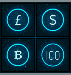 Bitcoin and yen ico and dollar icons set vector
