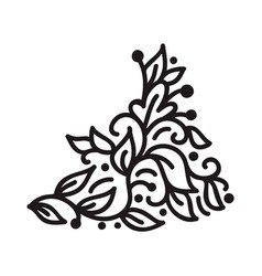 black monoline flourish scandinavian monogram vector image