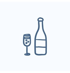 Bottle of champaign and glass sketch icon vector image