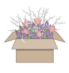 bouquet of spring doodle hyacinths and tulip vector image
