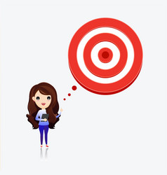 Business woman talk with target to success vector