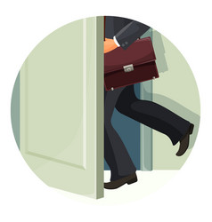 businessman with leather briefcase exits fast vector image