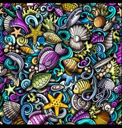 cartoon doodles sea life seamless pattern vector image