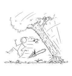 cartoon of lumberjack running away from falling vector image