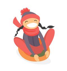 caucasian girl sledding down on snow rubber tube vector image