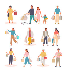 characters with shopping set people with paper vector image