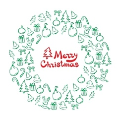 Christmas wreath of sketch doodles vector