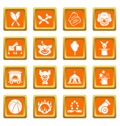 Circus icons set orange square vector