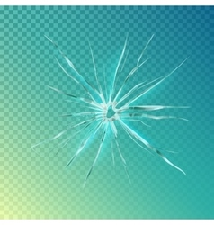 Crack on window or glass shattered screen vector