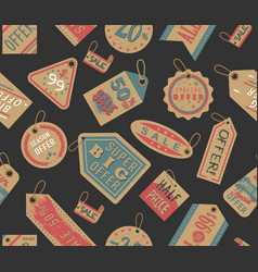 Craft paper tag shop clothes sale stiker cardboard vector