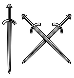 crossed knight swords in engraving style design vector image