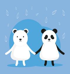 cute bear panda and polar adorable characters vector image