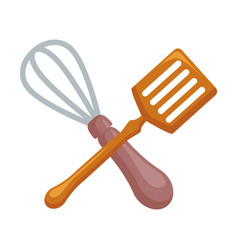 Cutlery kitchen crossed whisk and skimmer vector