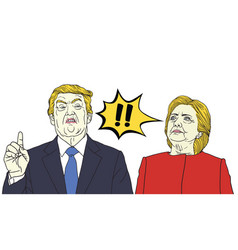 Donald trump vs hillary clinton pop art vector