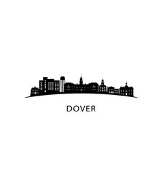dover city skyline black cityscape isolated vector image