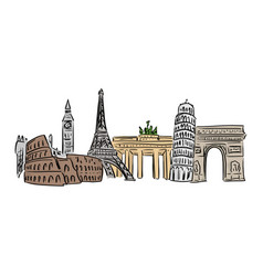 famous landmark in europe with vector image
