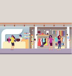 Fashion store shopping women in boutique with vector